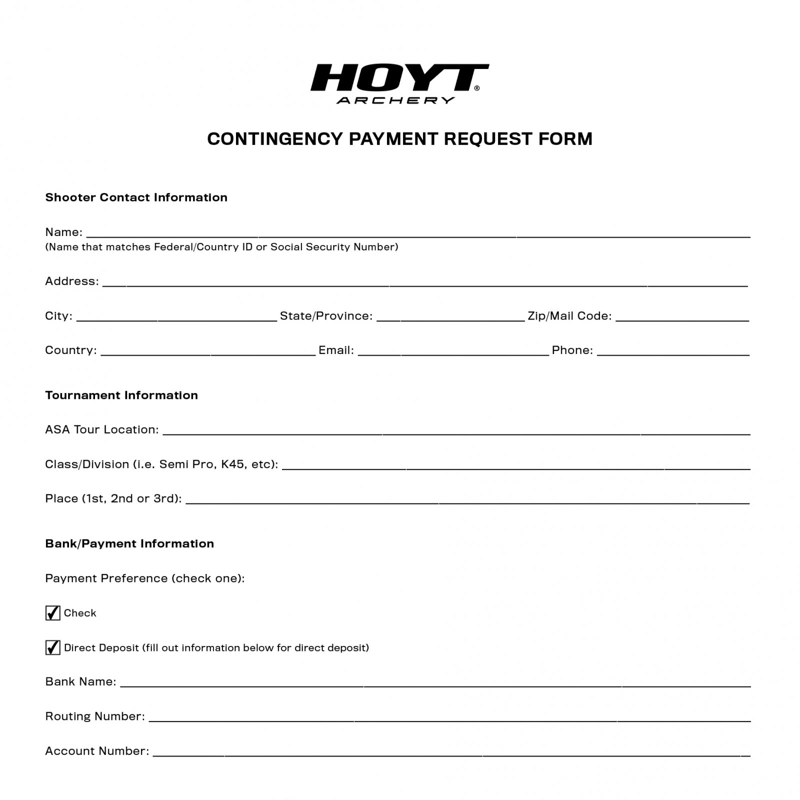 Contingency Payment Request Form